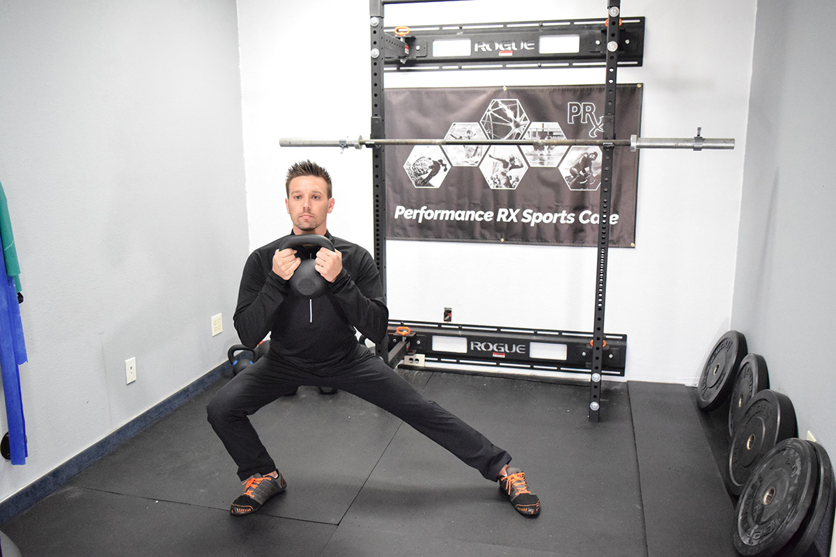 side lunge with kettlebell